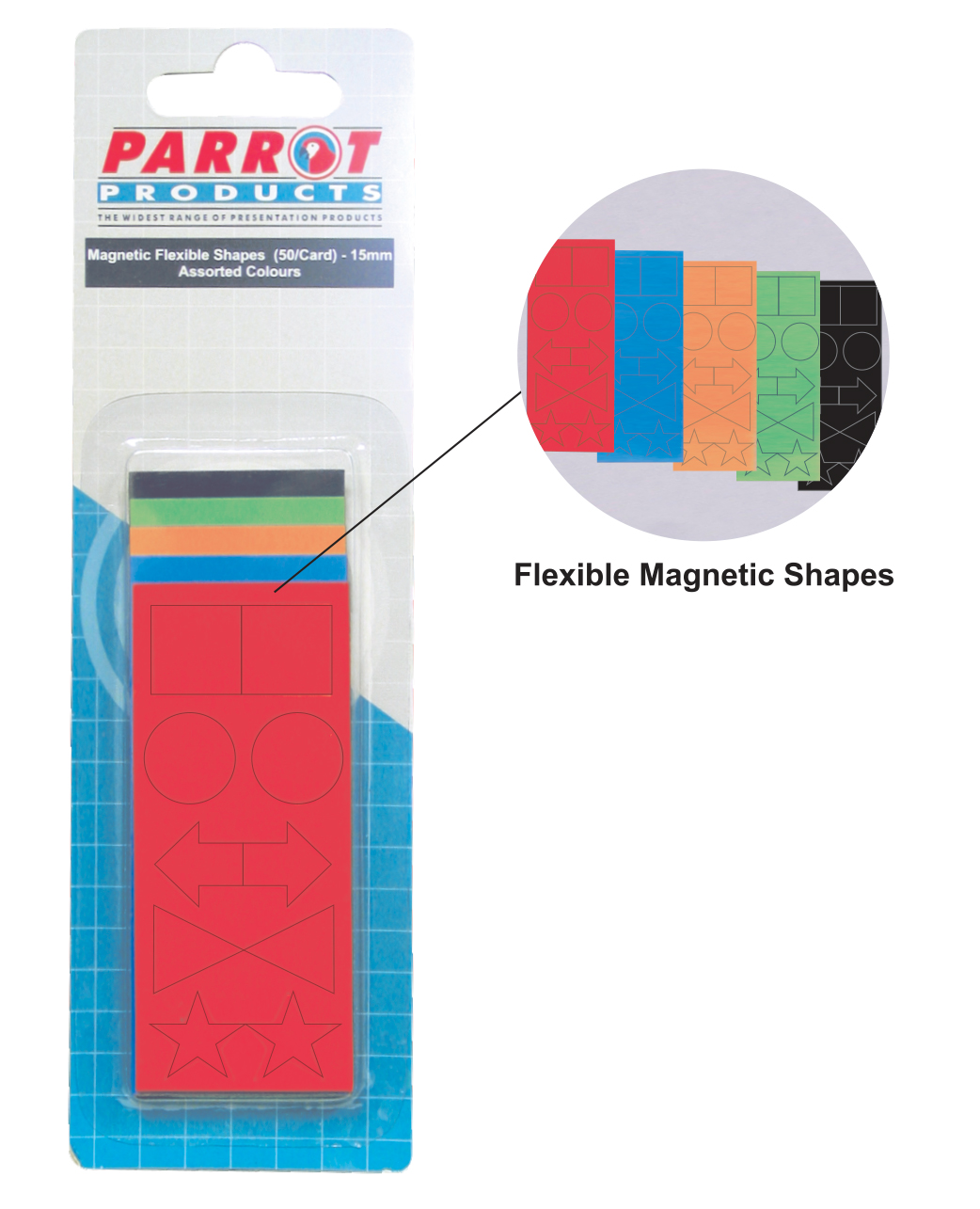 Magnetic Flexible Shapes (15mm, 50 Pack, Assorted)