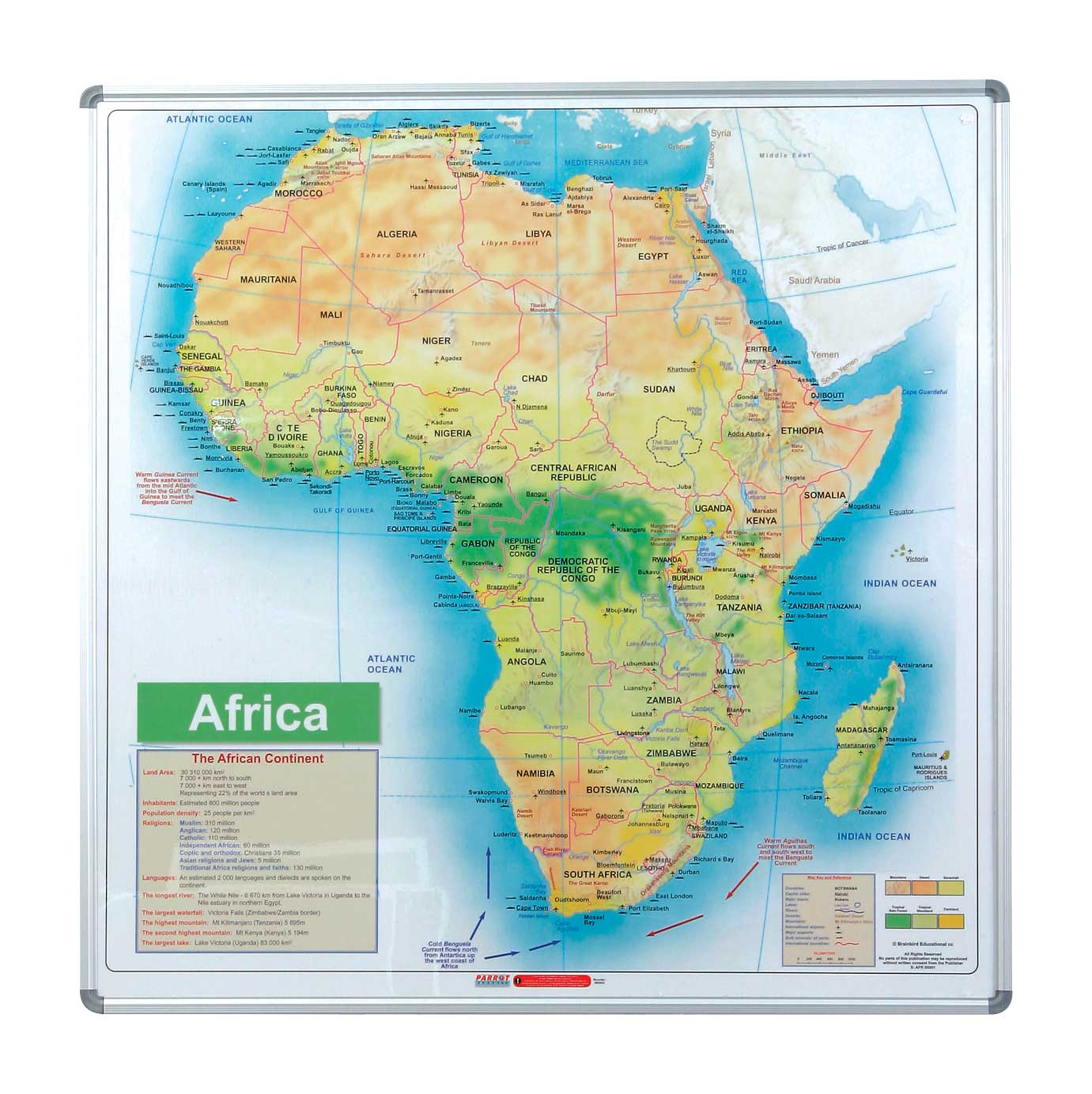 Map Board - Africa (1230*1230mm, Magnetic White)