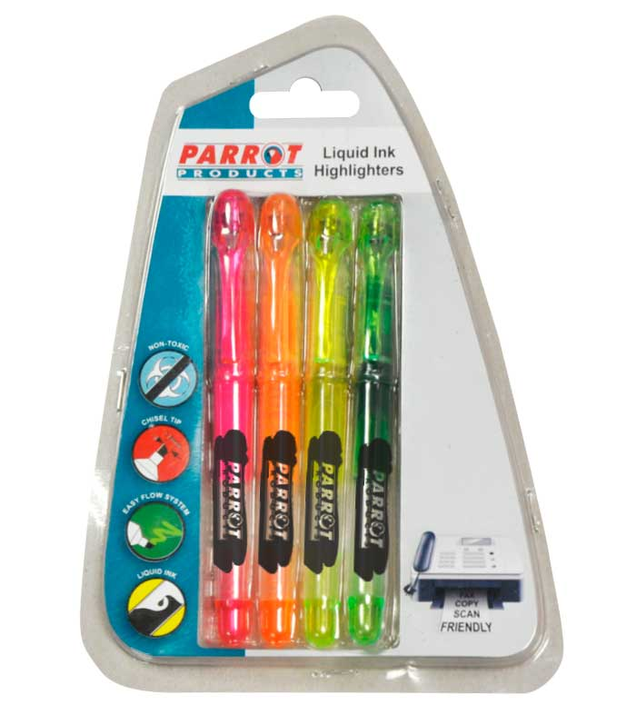 Liquid Ink Highlighters (Chisel Tip - Carded 4)