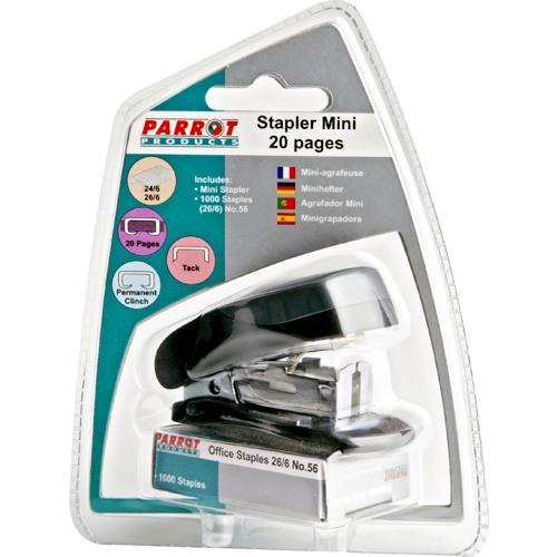 Plastic Mini Stapler (Black) and Staples (1000*26/6)