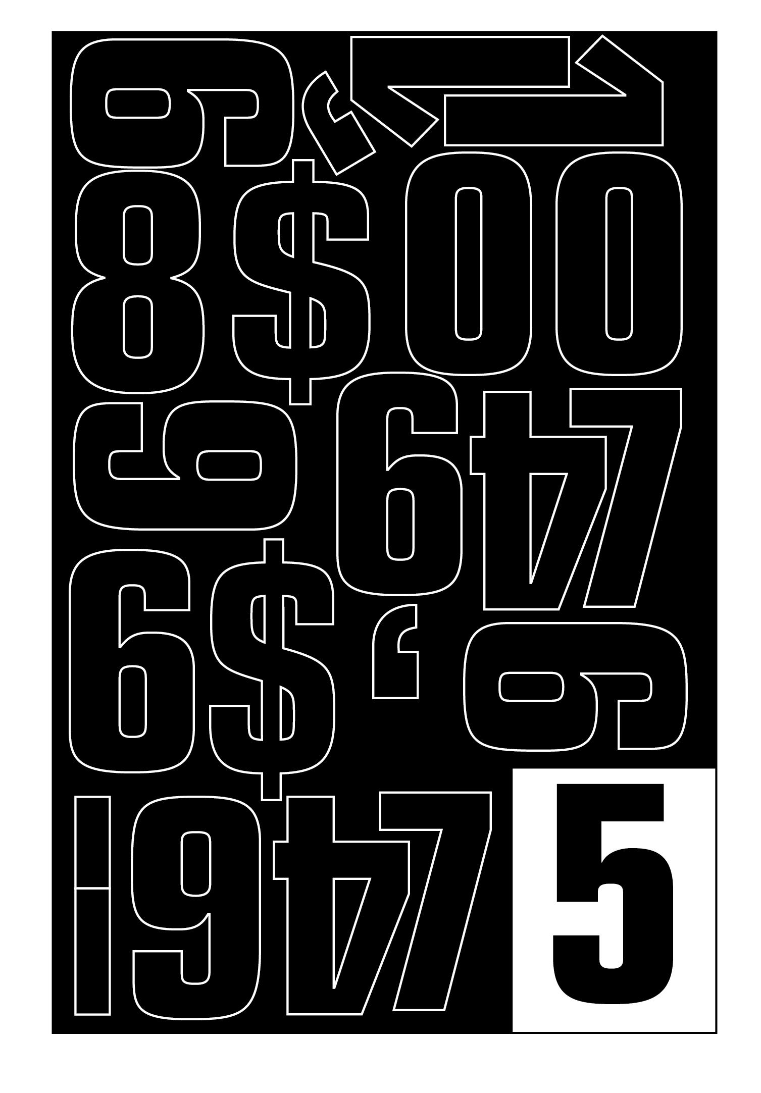 Vinyl Lettering Numerals (20mm, Black)