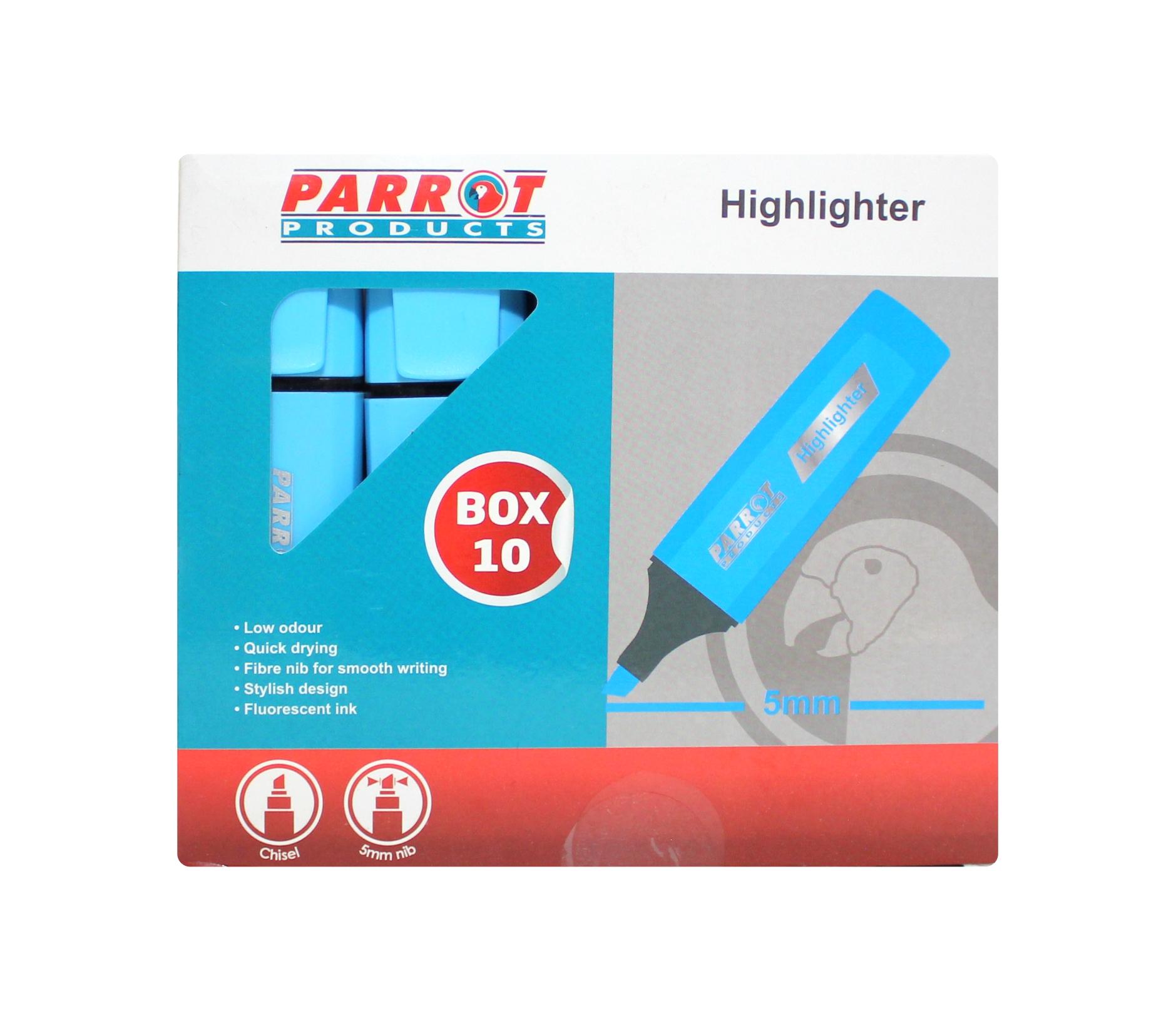 Highlighter Marker Box (10 Markers, Blue)