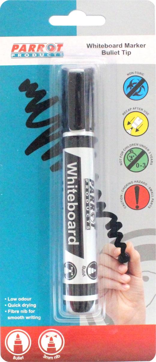 Whiteboard Marker (Bullet Tip, Carded, Black)