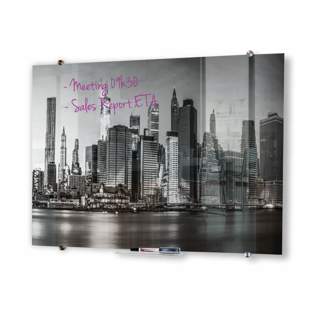 Glass Whiteboard Non-Magnetic Printed (900x900mm)