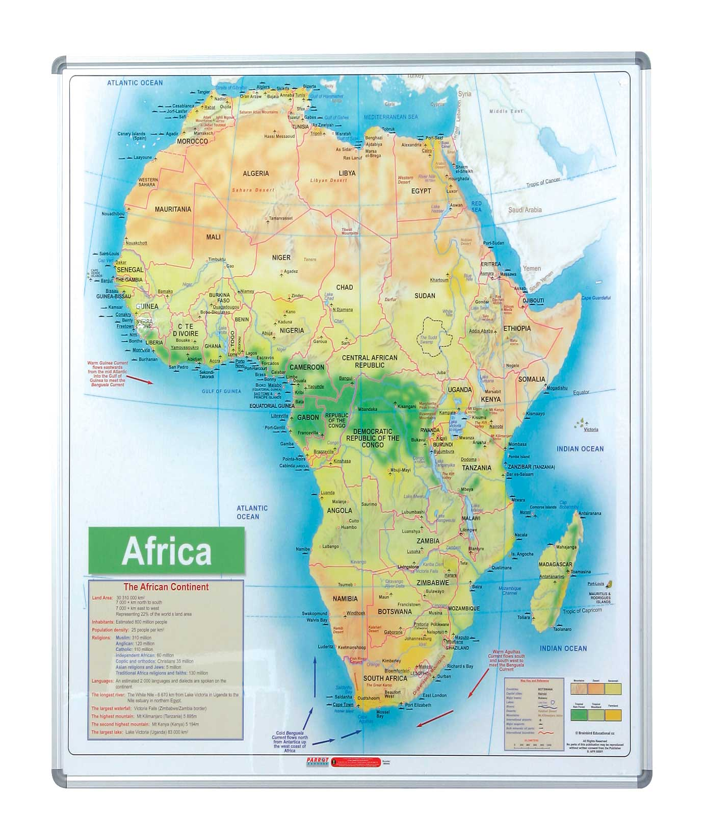 Map Board - Africa (1230*930mm, Magnetic White)