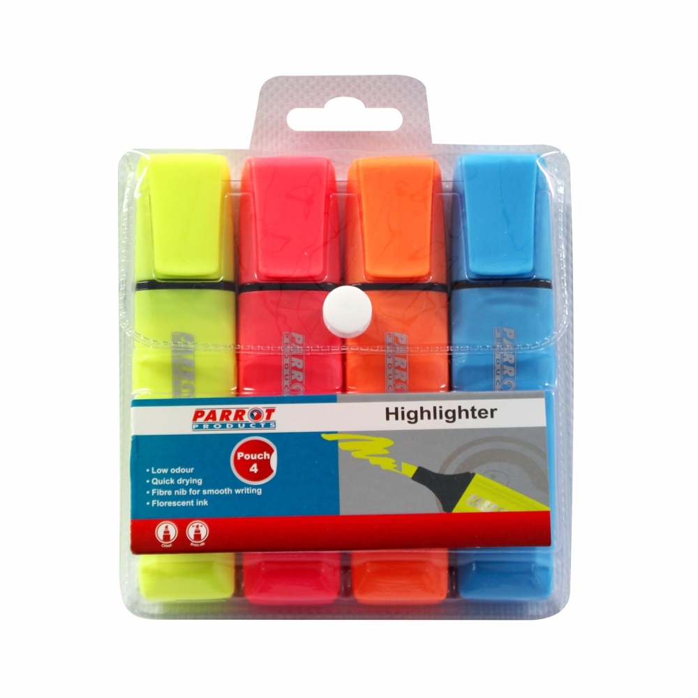 Highlighter Markers Pouch 4 (Yellow, Pink, Blue, Orange)