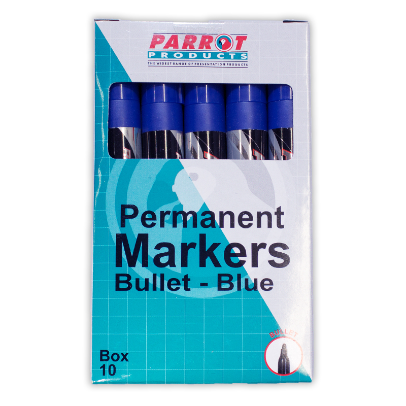 Permanent Markers (Bullet Tip, Box 10, Blue)