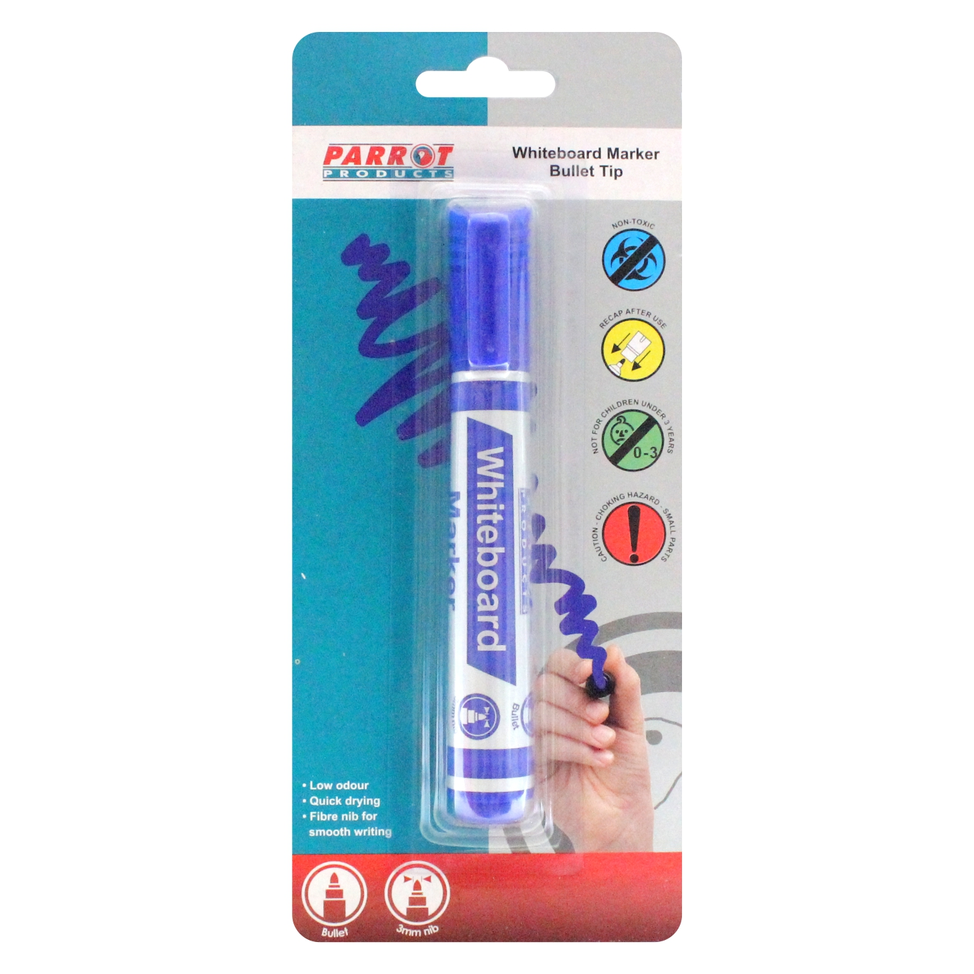 Whiteboard Marker (Bullet Tip, Carded, Blue)