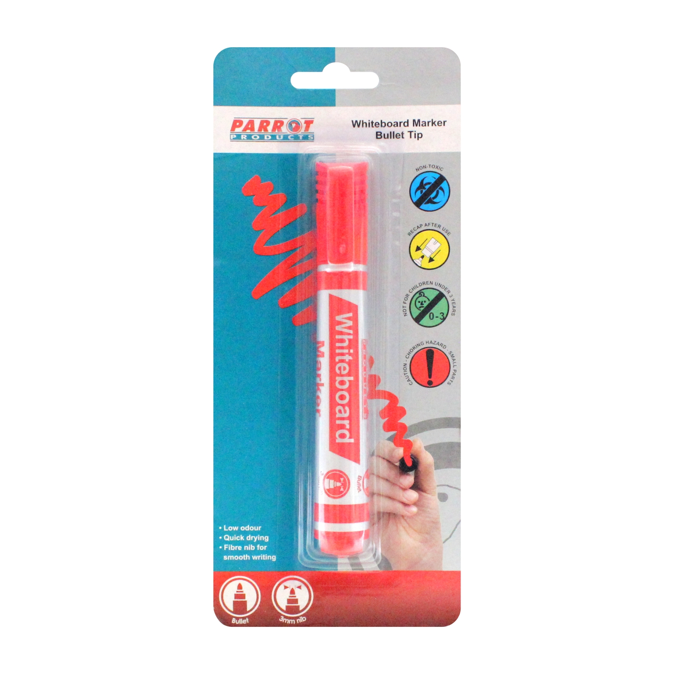 Whiteboard Marker (Bullet Tip, Carded, Red)