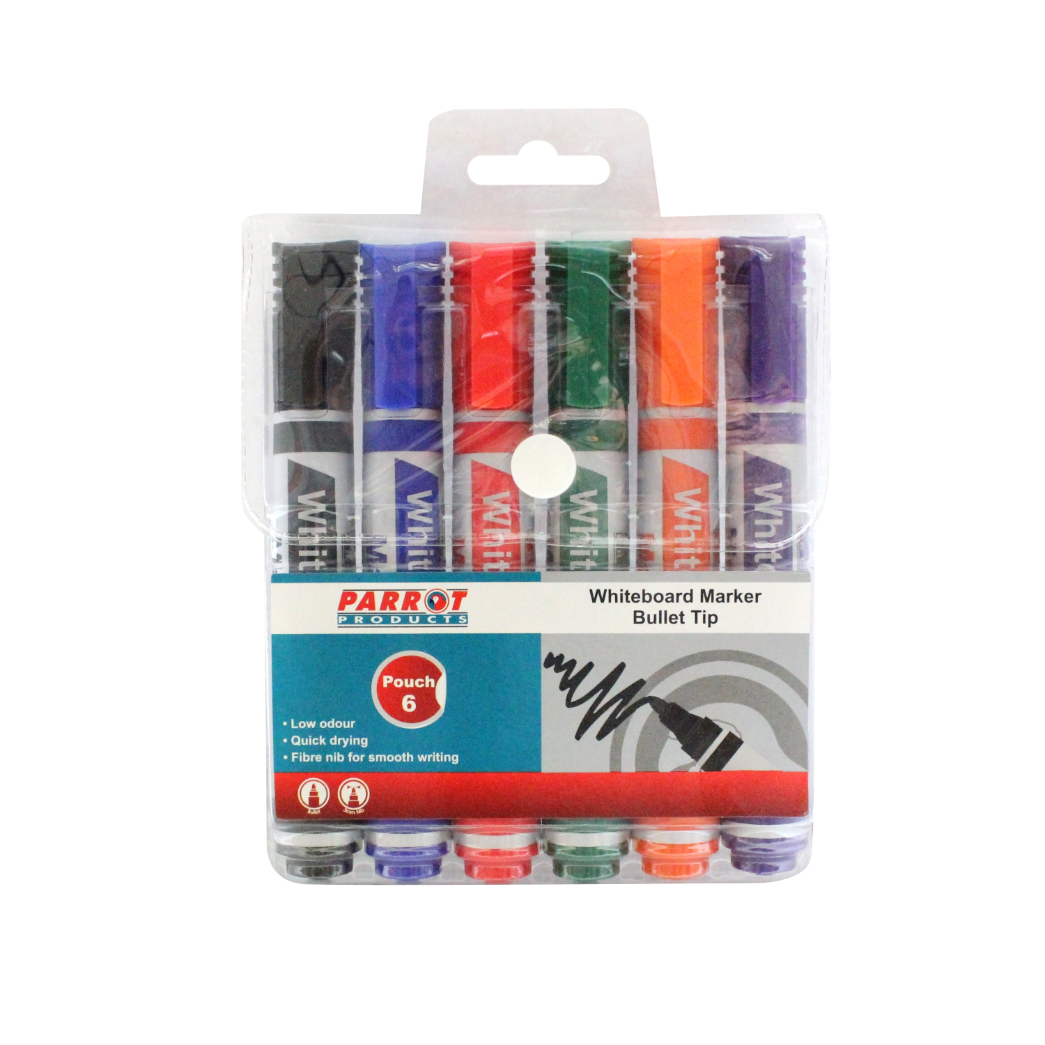 Whiteboard Markers (6 Markers, Bullet Tip, Pouch)