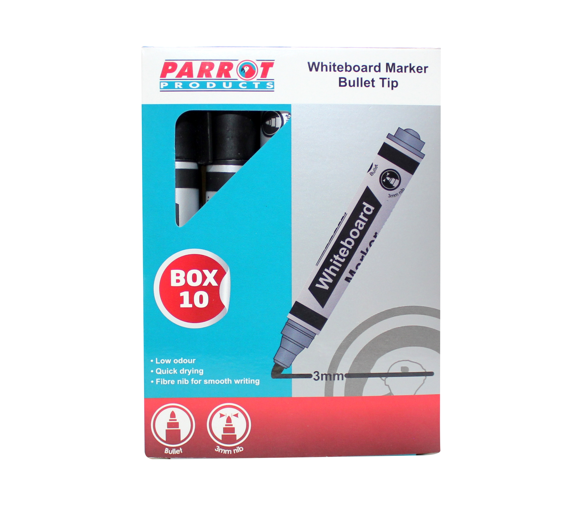 Whiteboard Markers (10 Markers, Bullet Tip, Black)