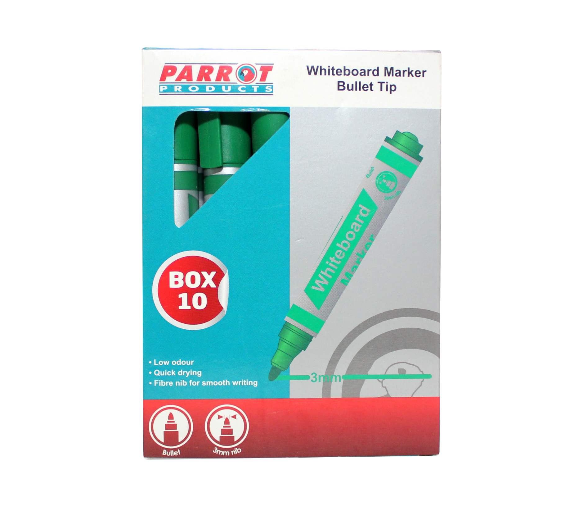 Whiteboard Markers (10 Markers, Bullet Tip, Green)