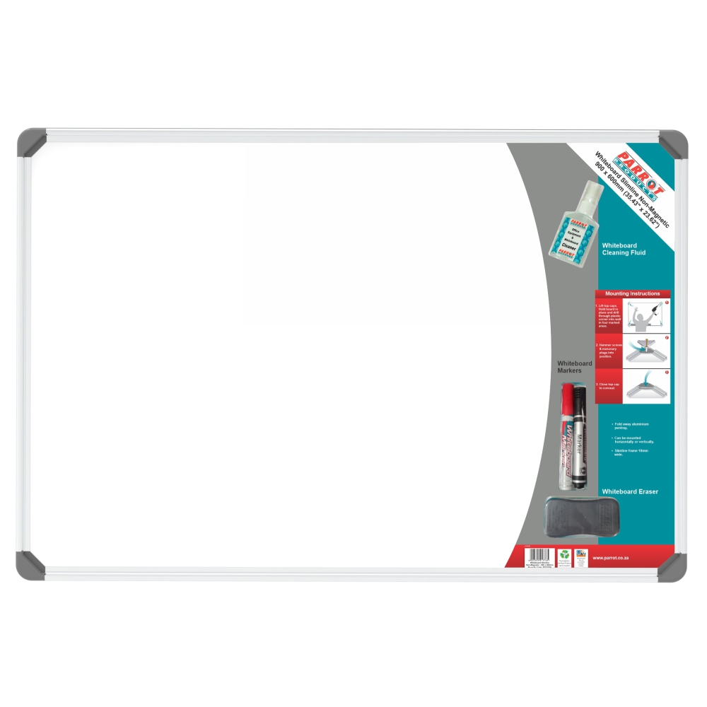 Slimline Non-Magnetic Whiteboard (900*600mm - Retail)